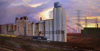 Grain Elevators, Eastbound Coal Train